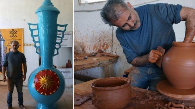 Çömlek sanatçısı 3,5 metrelik vazoyu Cumhurbaşkanlığı Külliyesi'ne hediye etmek istiyor
