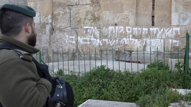 Mescid-i Aksa'nın duvarına provokatif saldırı