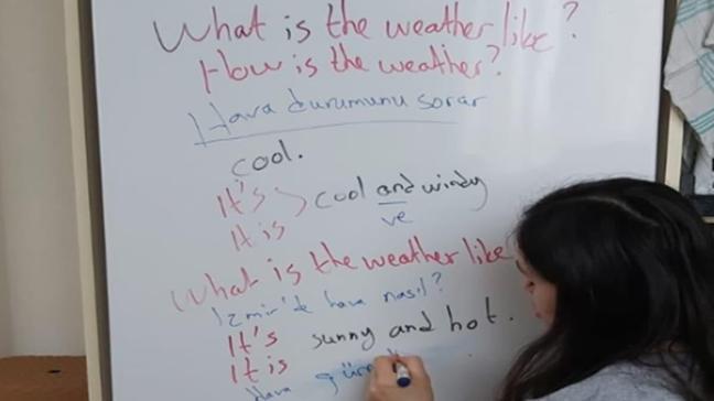 Buzdolabını yazı tahtasına çevirdi, internetten öğrencilerine ders anlattı