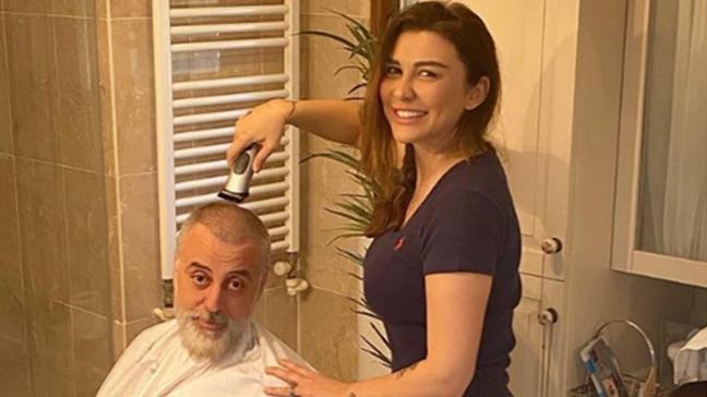 Selen Görgüzel eşi Hamdi Alkan'ı tıraş etti!
