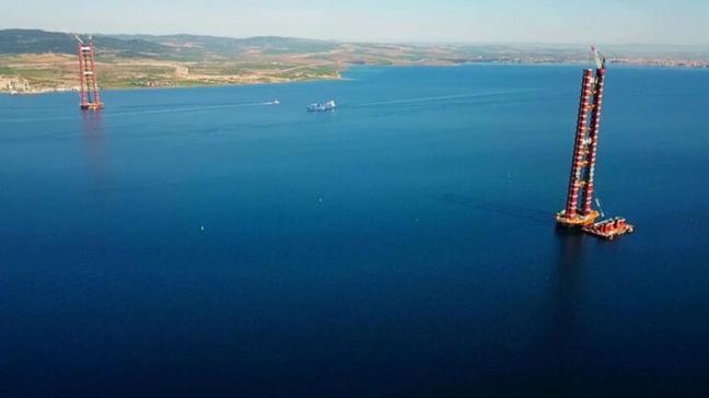 Çanakkale Boğaz Köprüsü'nün kuleleri 270 metreye ulaştı