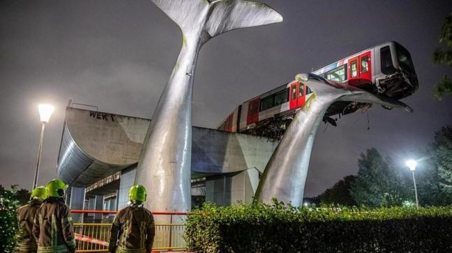 Hollanda'da korkunç kaza! Tren 7.5 metre yükseklikteki dev balina heykeline çarpıp asılı kaldı