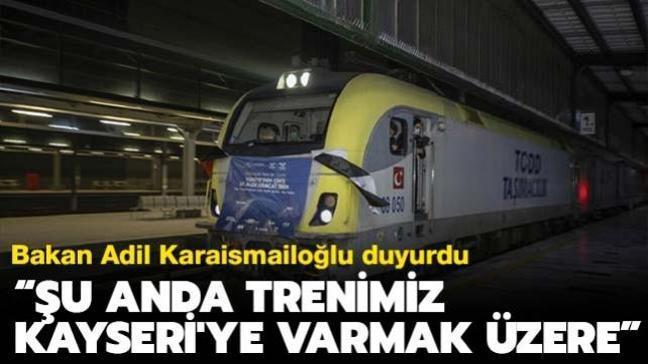 """Ulaştırma ve Altyapı Bakanı Karaismailoğlu: """"Şu anda trenimiz Kayseri'ye varmak üzere"""""""