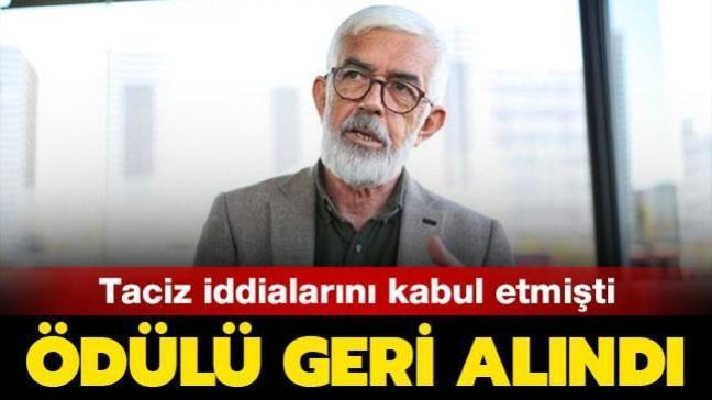 Taciz iddialarını kabul etmişti! Yazar Hasan Ali Toptaş'a verilecek ödül geri alındı