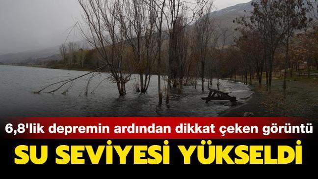 6,8'lik Elazığ depreminin ardından dikkat çeken görüntü! Hazar Gölü'nde su seviyesi yükseldi