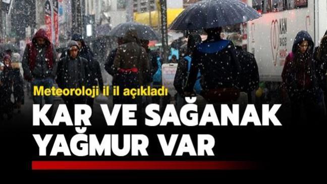 Meteoroloji il il açıkladı: Kar ve sağanak yağmur var