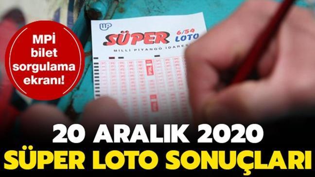 Süper Loto çekiliş sonuçları 20 Aralık 2020