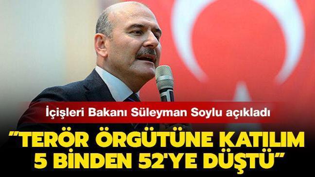 """İçişleri Bakanı Süleyman Soylu: """"Terör örgütüne katılım 5 binden 52'ye düştü"""""""