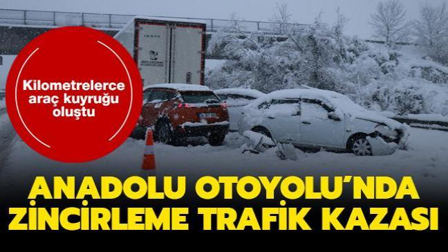 Anadolu Otoyolu'nda zincirleme trafik kazası... Kilometrelerce araç kuyruğu oluştu
