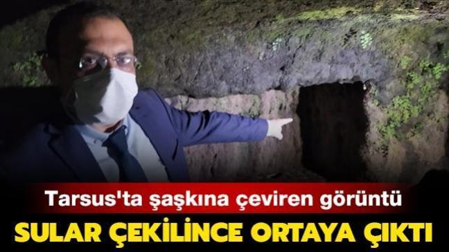 Tarsus'ta şaşkına çeviren görüntü! Sular çekilince ortaya çıktı
