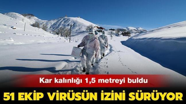 Kar kalınlığının 1,5 metreyi bulduğu  Tunceli'de zorlu mesai: 51 ekip virüsün izini sürüyor