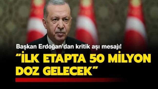 Başkan Erdoğan'dan aşı açıklaması: İlk etapta 50 milyon doz gelecek