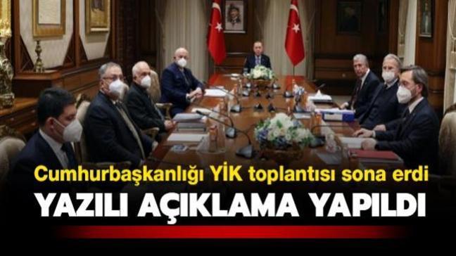 Cumhurbaşkanlığı Yüksek İstişare Kurulu toplantısı sona erdi... Yazılı açıklama yapıldı