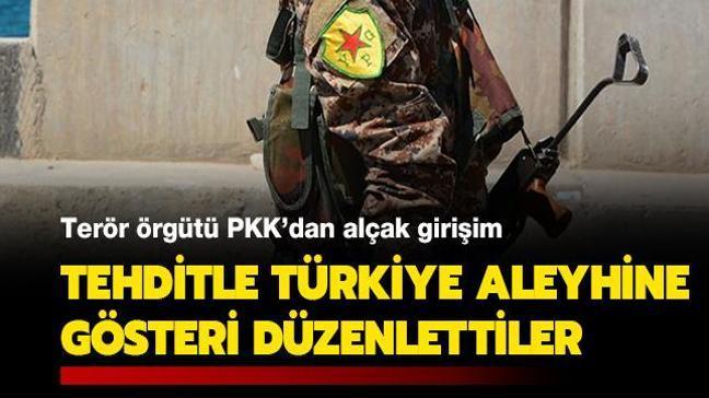 Terör örgütü PKK/YPG'den alçak girişim: Tehditle Türkiye aleyhine gösteri düzenlettiler