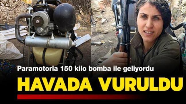 Paramotorla 150 kilo bomba ile gelen terörist havada vuruldu