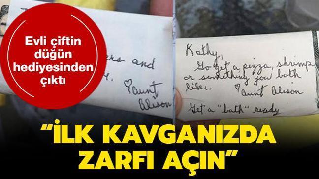 Evli çiftin düğün hediyesinden paraya sarılmış notlar çıktı: İlk kavganızda zarfı açın