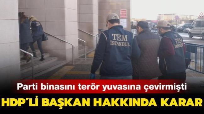 Parti binasını terör yuvasına çevirmişti: HDP'li Başkan hakkında karar!