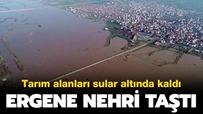 Tarım alanları sular altında kaldı: Turuncu alarm verilen Ergene Nehri taştı