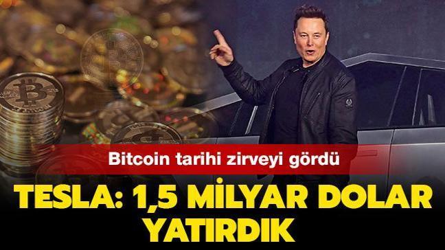 """Bitcoin tarihi zirveyi gördü... Tesla'dan Bitcoin açıklaması: """"1,5 milyar dolar yatırdık"""""""