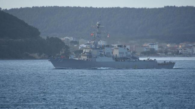ABD'ye ait savaş gemisi Çanakkale Boğazı'ndan geçti