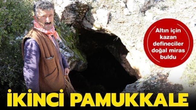 Denizli'de kazı yapan defineciler Pamukkale'deki gibi travertenlere rastladı