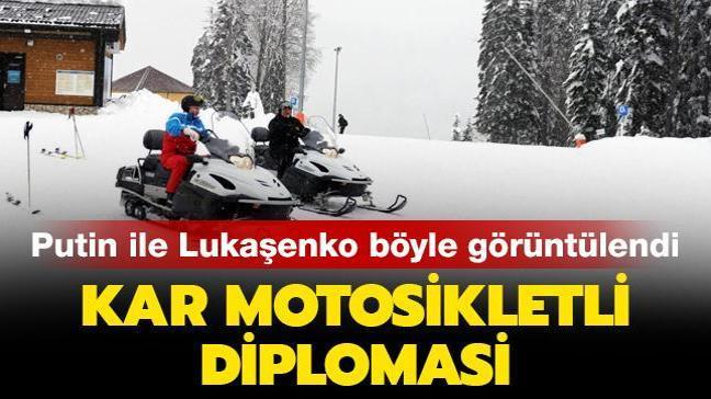 Son dakika... Kayak yaparken görüntülendiler: Putin ile Lukaşenko'dan kar motosikletli diplomasi
