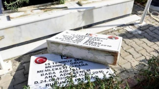 Adana'da şehit mezarlarına dadanan 5 kişi yakalandı