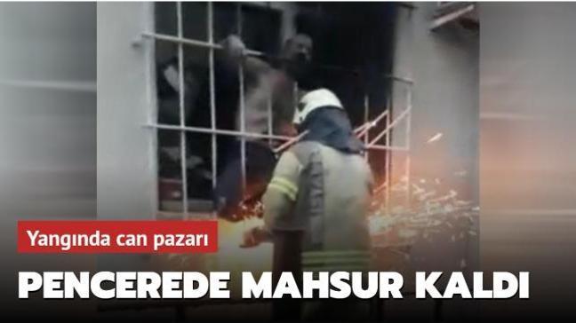 Güngören'de çıkan yangında akli dengesi yerinde olmayan bir vatandaş itfaiye ekipleri tarafından kurtarıldı