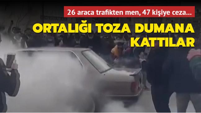 Ankara'da drift partisi: 26 araca trafikten men, 47 kişiye ceza