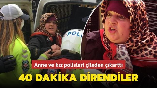 Banka şubesine maskesiz girmek isteyen anne-kız, polise 40 dakika direndi