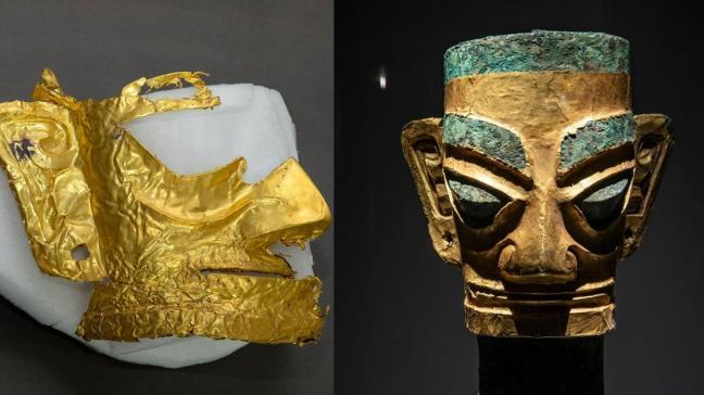 Çin'de yapılan arkeolojik kazıda 3 bin yıllık altın maske bulundu