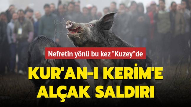 İsveç'te Kur'an-ı Kerim'in üzerine domuz kafası koydular!