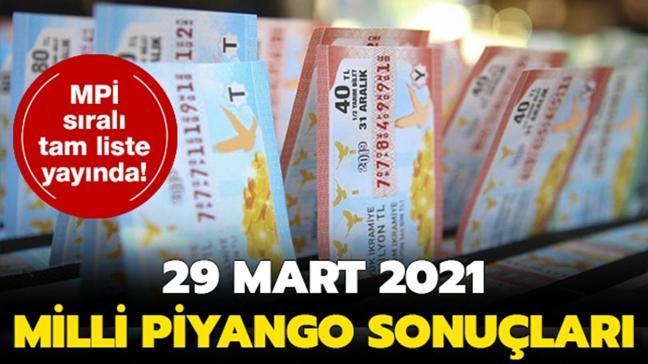 Milli Piyango çekiliş sonuçları sıralı tam listesi: Milli Piyango çekiliş sonuçları 29 Mart 2021 amorti numaraları...
