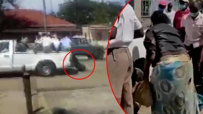 Polise ait kamyonet seyyar satıcı kadını metrelerce sürükledi