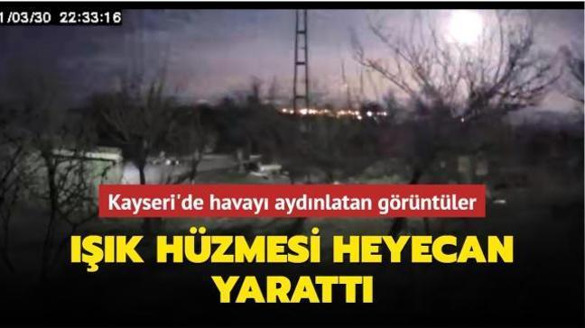 Kayseri'de havayı aydınlatan görüntüler... Işık hüzmesi heyecan yarattı