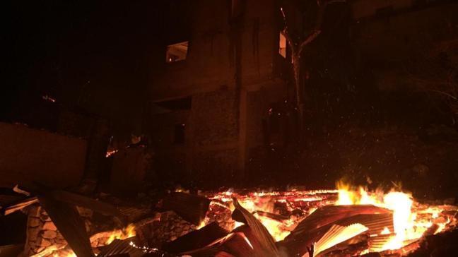 Artvin Ortaköy köyünde yangın