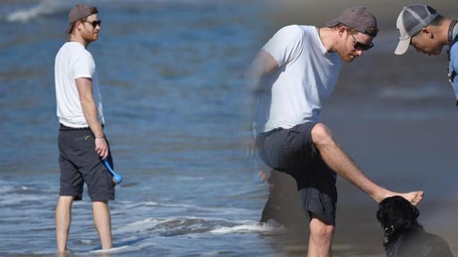 Özgürlüğün tadını böyle çıkardı! Prens Harry sahilde görüntülendi
