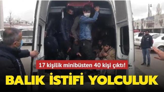 17 kişilik minibüste 40 kişi yolculuk yapan düzensiz göçmenler yakalandı