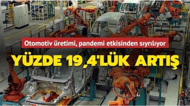 Otomotiv üretimi, mart ayında geçen yıla göre yüzde 19,4 artış gösterdi