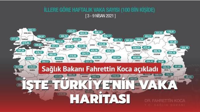 Sağlık Bakanı Koca açıkladı... İşte Türkiye'nin vaka haritası
