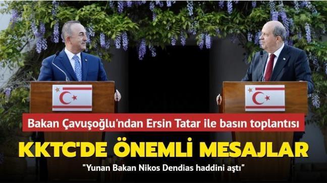Dışişleri Bakanı Çavuşoğlu KKTC'de... Ersin Tatar ile ortak basın toplantısı