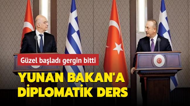 Yunan Bakan'a diplomatik ders! Güzel başladı, gergin bitti