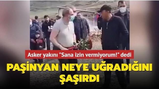 Ölen askerin yakını Paşinyan'ın mezara çiçek koymasına izin vermedi