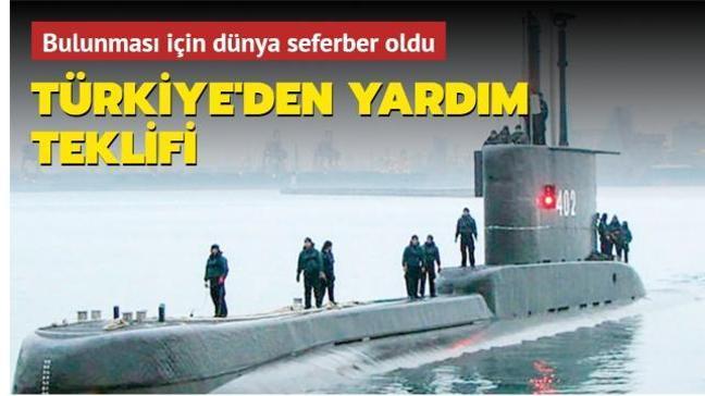 Kaybolan denizaltı için Türkiye'den yardım teklifi