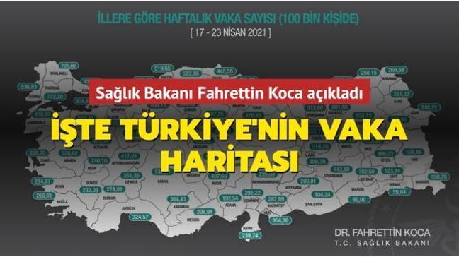 Sağlık Bakanı Fahrettin Koca açıkladı... İşte Türkiye'nin vaka haritası