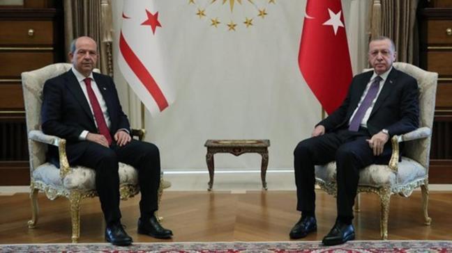 Başkan Erdoğan KKTC Cumhurbaşkanı Ersin Tatar ile görüştü