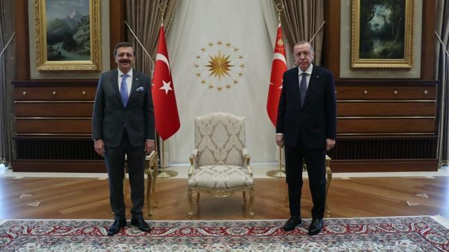 Başkan Erdoğan, TOBB Başkanı Hisarcıklıoğlu'nu kabul etti