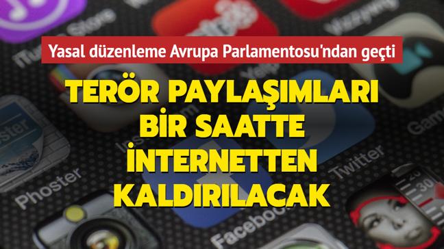 Terör içerikli paylaşımların bir saatte internetten kaldırılmasını öngören düzenleme AB'de kabul edildi