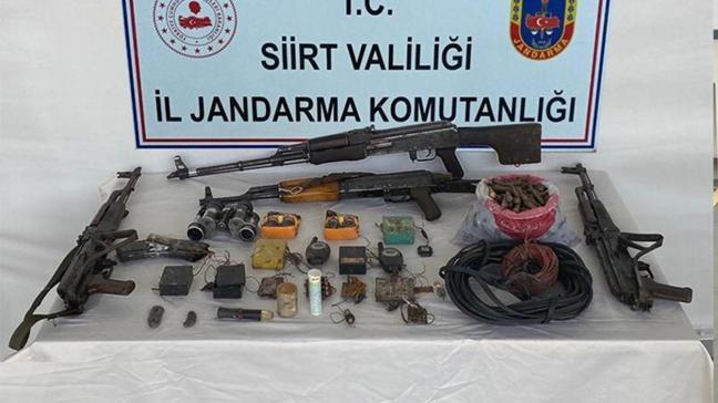 Siirt'te terör örgütü PKK'nın cephaneliği ele geçirildi