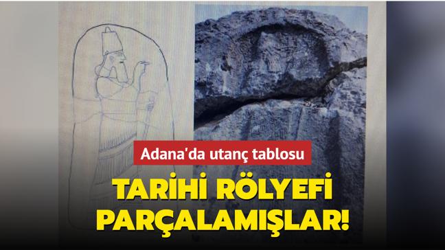 Adana'da tarihi rölyef vandallar tarafından parçalandı.